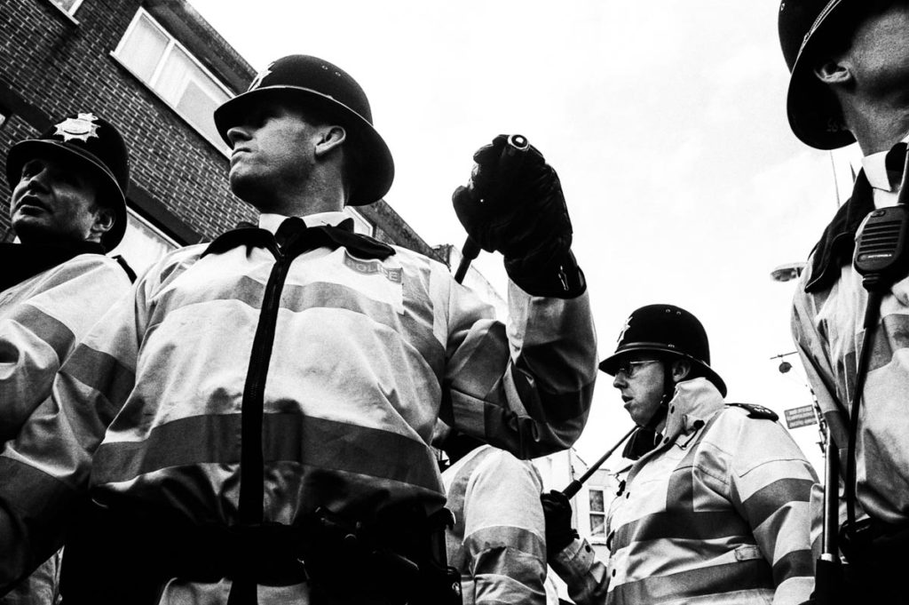 Following a day of action by thousands of local schoolchildren, who had walked out of their classrooms in protest against the Iraq War, the police were out in force in the centre of Brighton (2003). Image © Thaddeus Pope